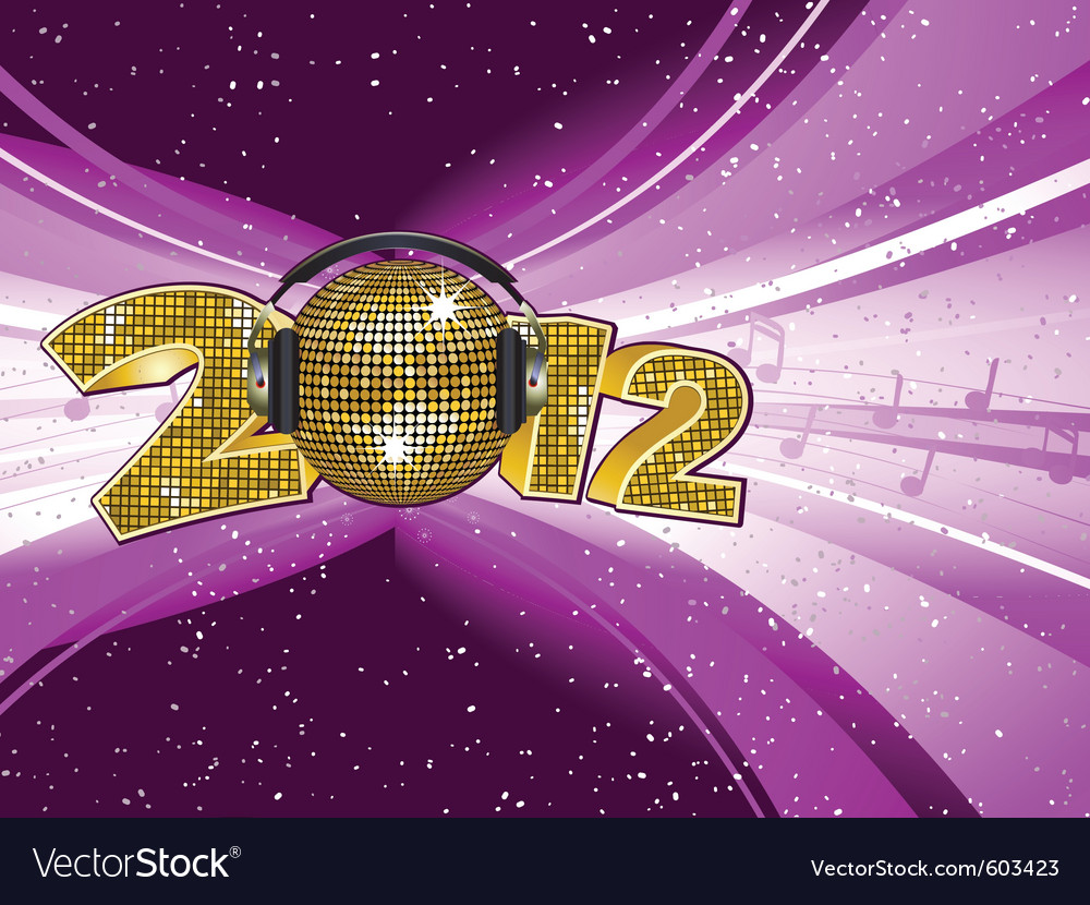 Sparkling gold disco ball and headphones on a 2012 vector | Price: 1 Credit (USD $1)