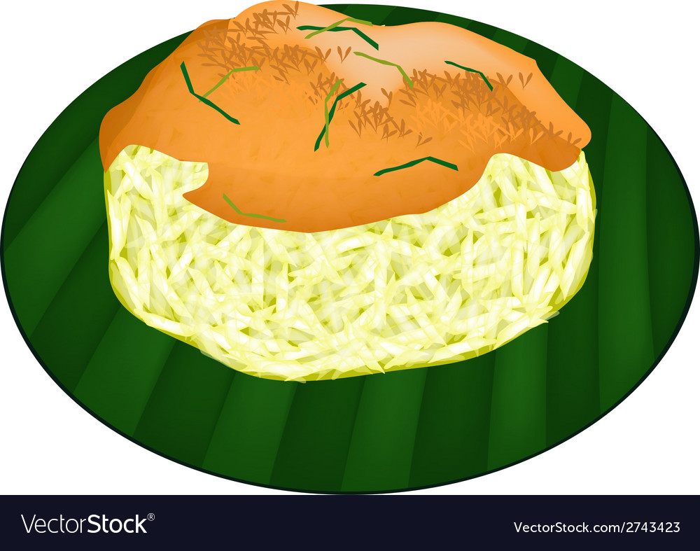 Sticky rice with fried shrimp and shred coconut vector | Price: 1 Credit (USD $1)
