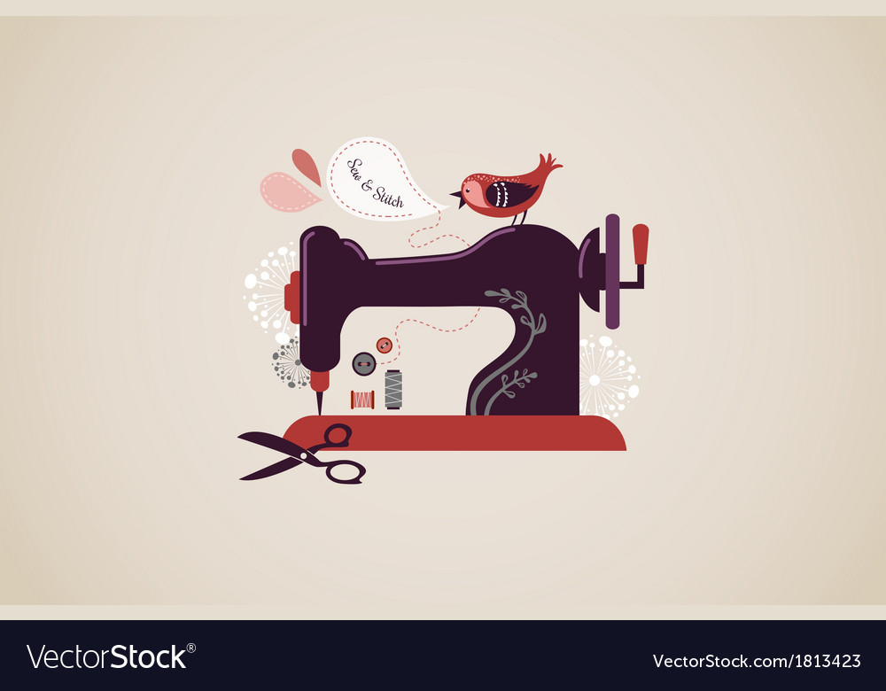 Vintage sewing machine vector | Price: 1 Credit (USD $1)