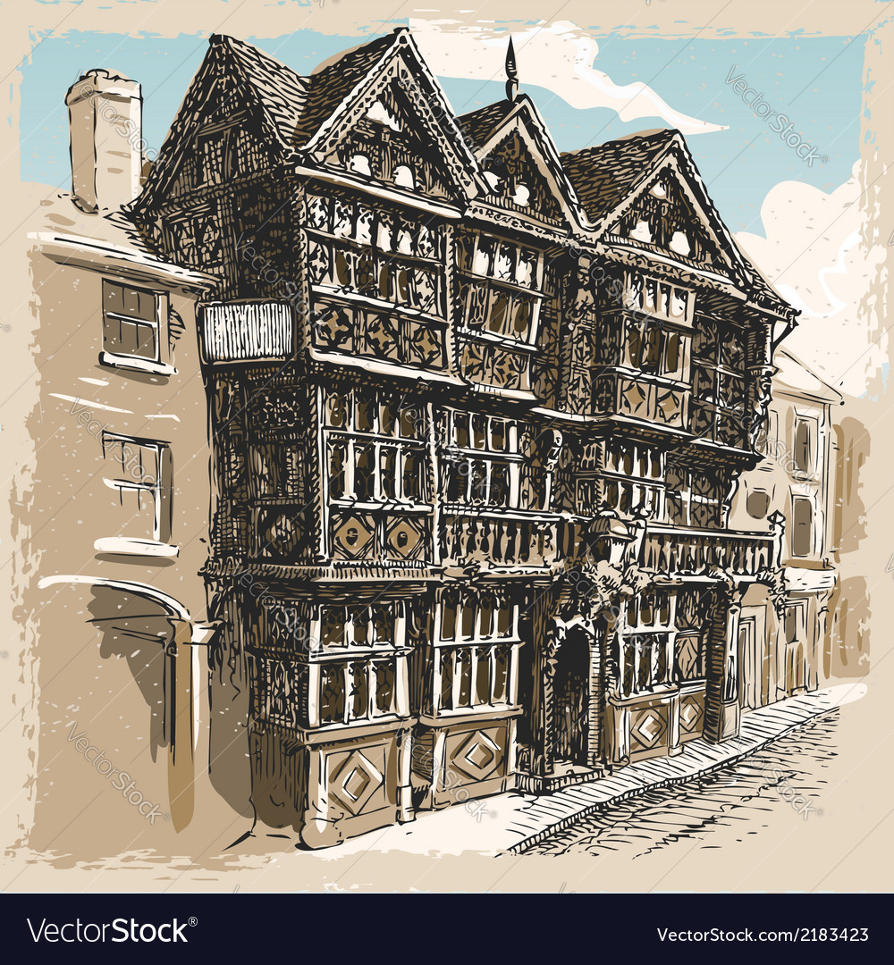 Vintage view of feathers hotel at ludlow in vector | Price: 1 Credit (USD $1)