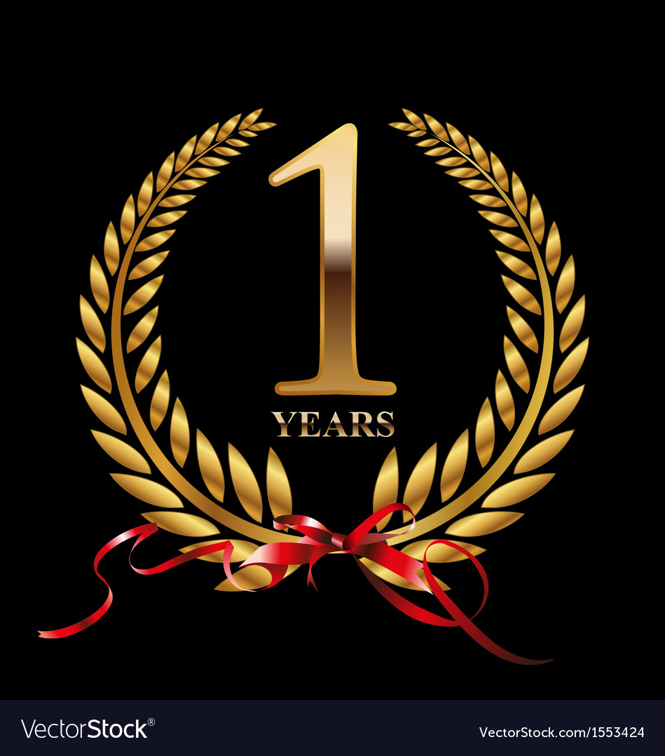 1 year anniversary laurel wreath vector | Price: 1 Credit (USD $1)