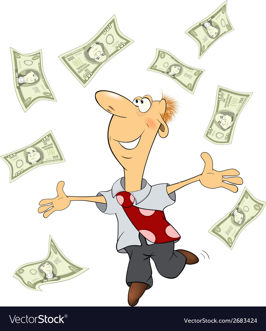 A business man with money cartoon vector | Price: 1 Credit (USD $1)