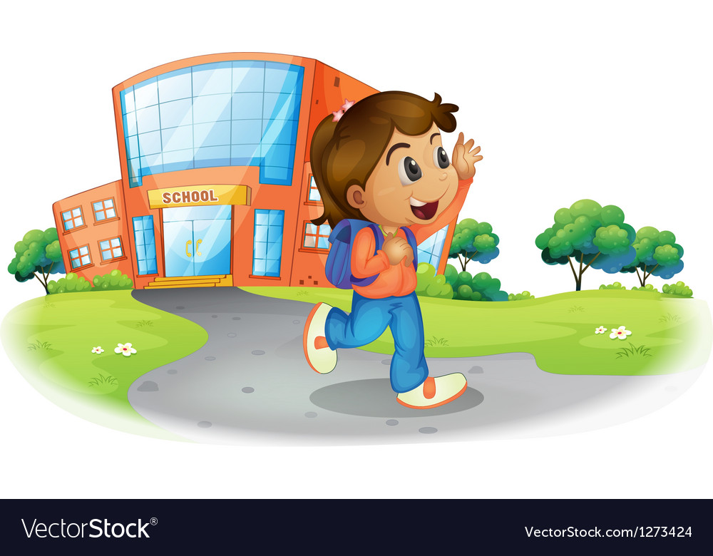 A girl going home from school vector | Price: 1 Credit (USD $1)