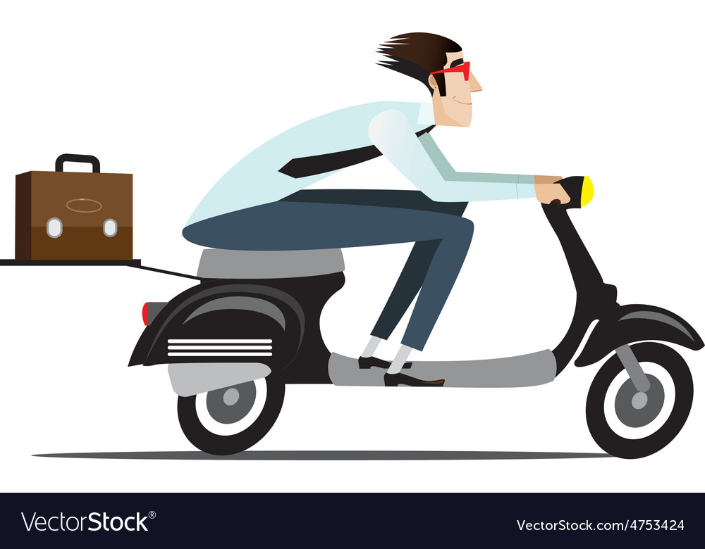 Businessman riding on a scooter vector   Price: 1 Credit (USD $1)