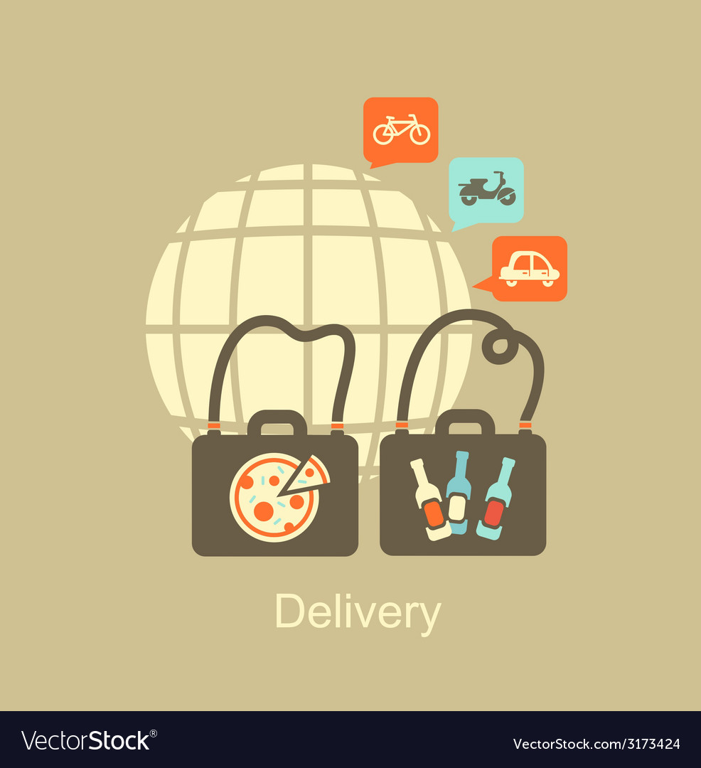 Delivery of food icon vector | Price: 1 Credit (USD $1)