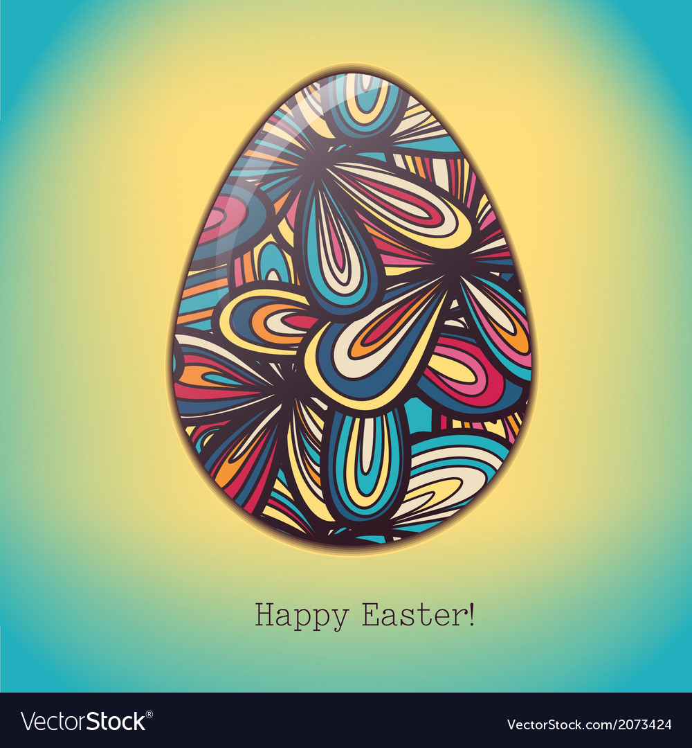 Easter egg greeting card hand drawn ornament vector | Price: 1 Credit (USD $1)