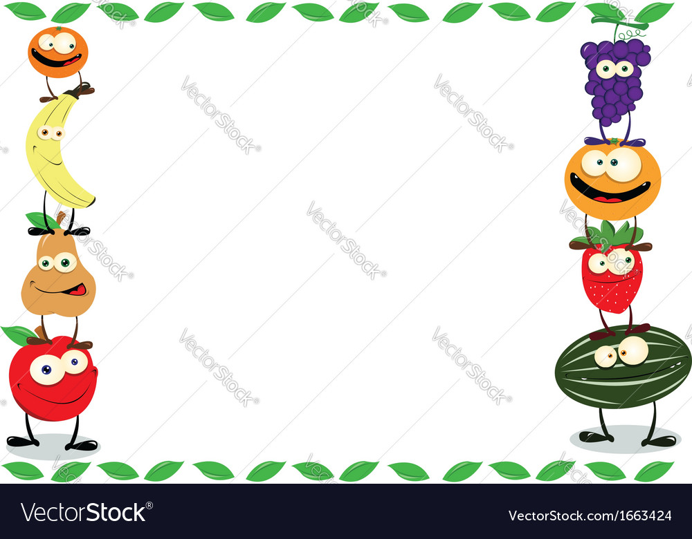 Funny fruit frame vector   Price: 1 Credit (USD $1)