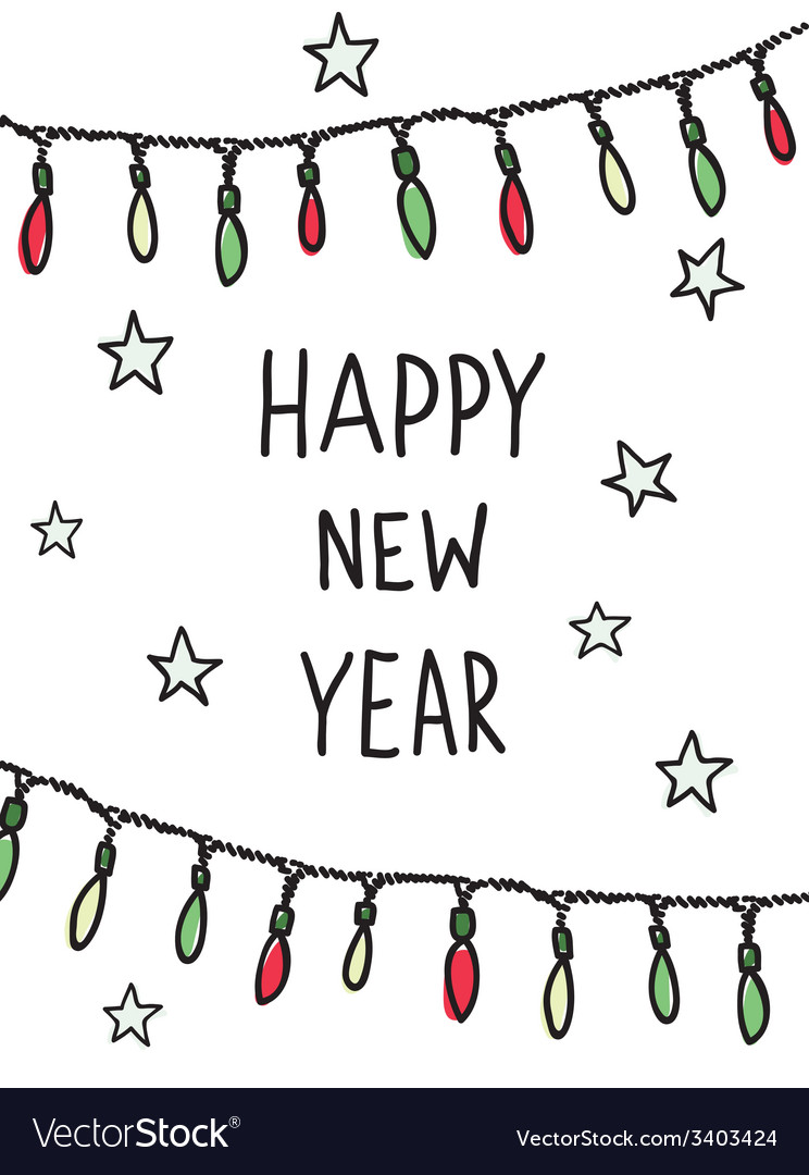 Hand drawn new year sketch vector | Price: 1 Credit (USD $1)