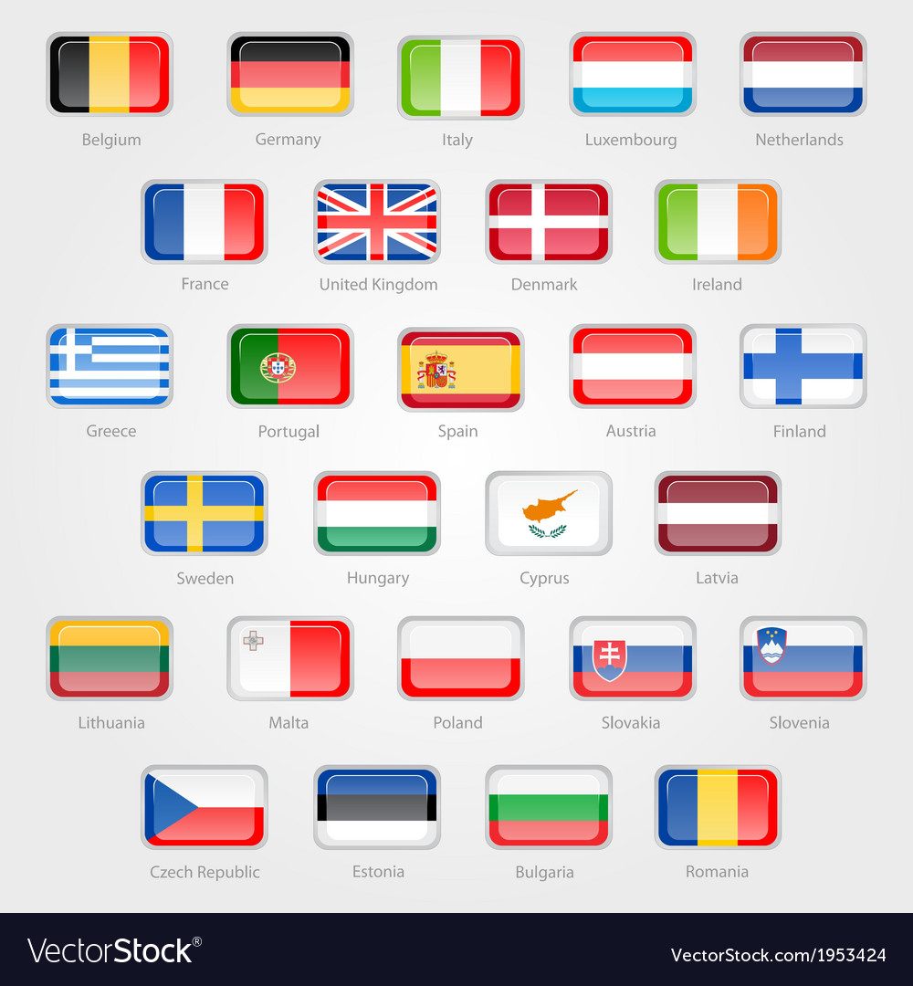 Icons depicting the flags of the eu countries vector   Price: 1 Credit (USD $1)