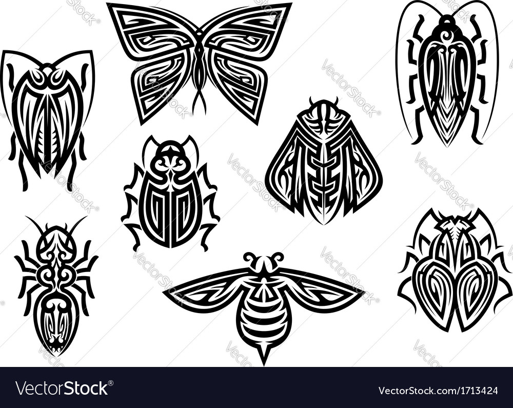 Insect tattoos in tribal style vector | Price: 1 Credit (USD $1)
