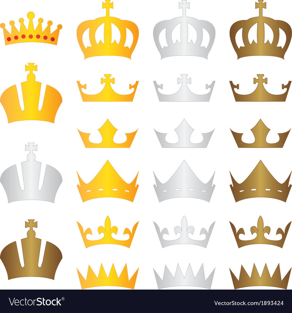 King crown gold silver bronze vector | Price: 1 Credit (USD $1)