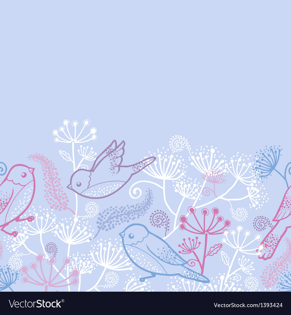 Pastel birds and flowers horizontal seamless vector | Price: 1 Credit (USD $1)