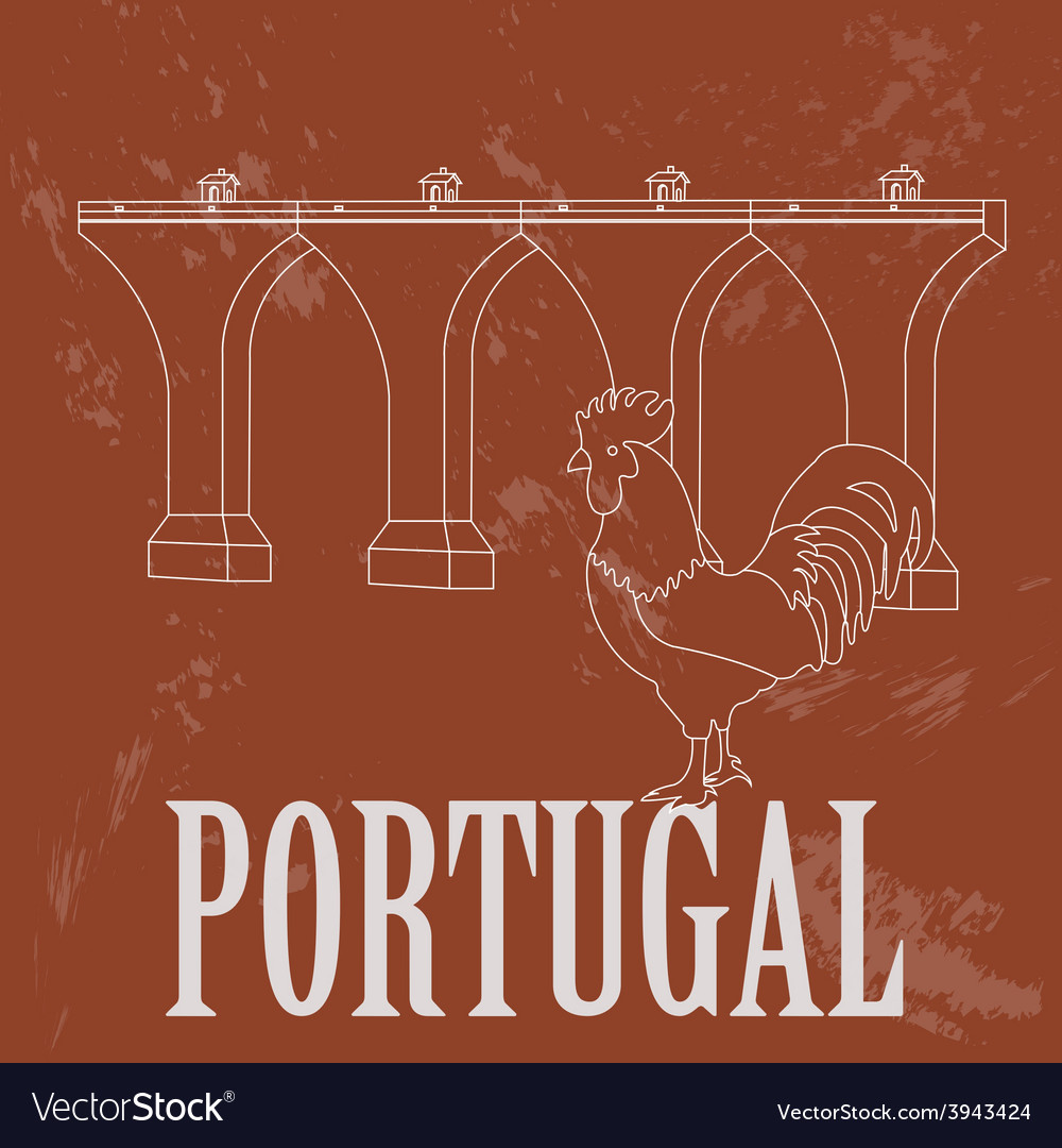 Portugal landmarks retro styled image vector | Price: 1 Credit (USD $1)