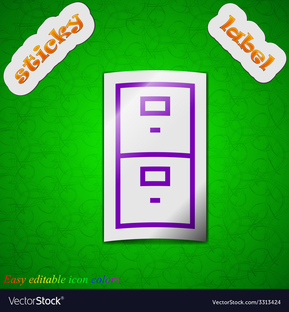 Safe icon sign symbol chic colored sticky label on vector | Price: 1 Credit (USD $1)
