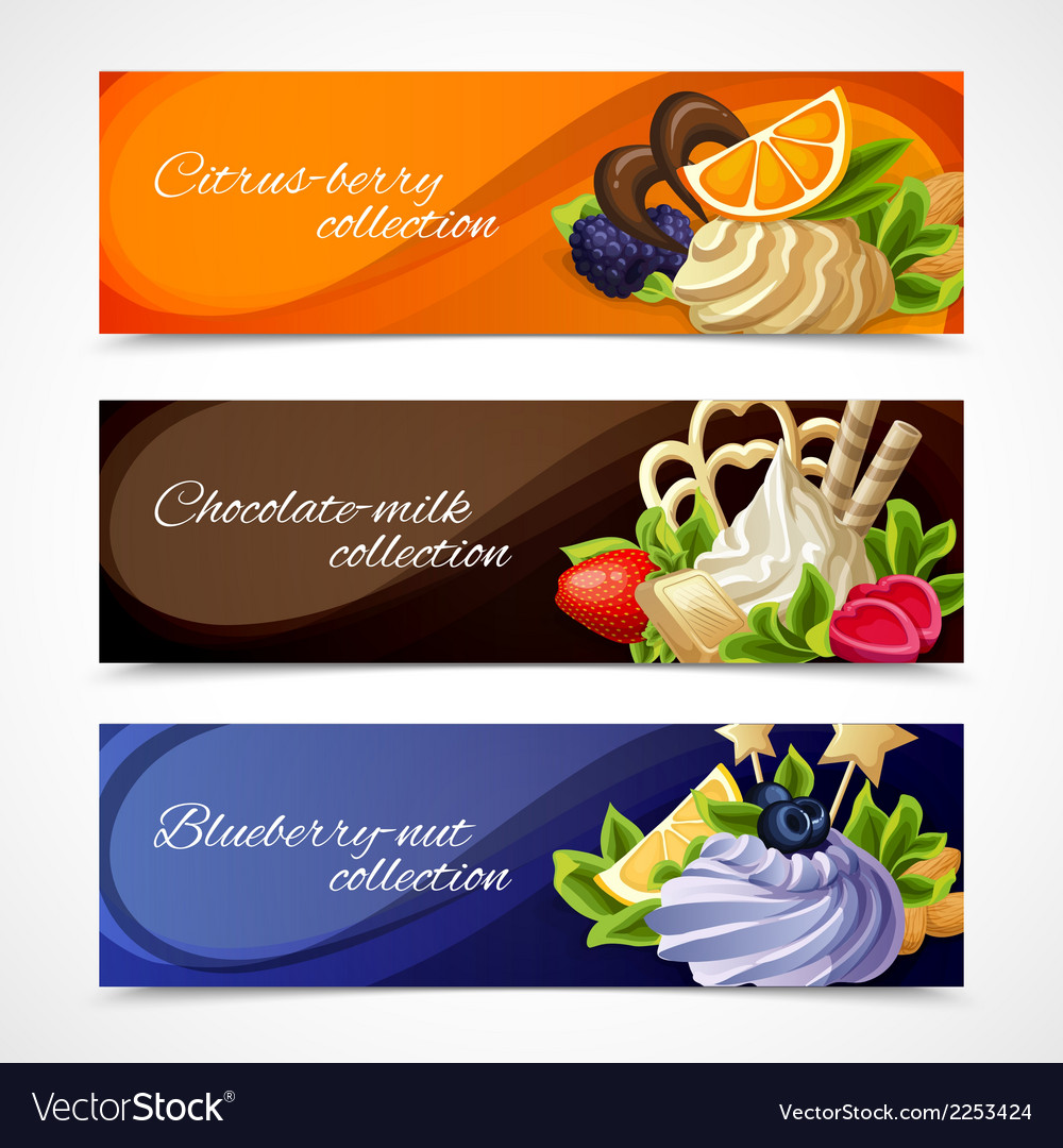 Sweets banners horizontal vector | Price: 1 Credit (USD $1)