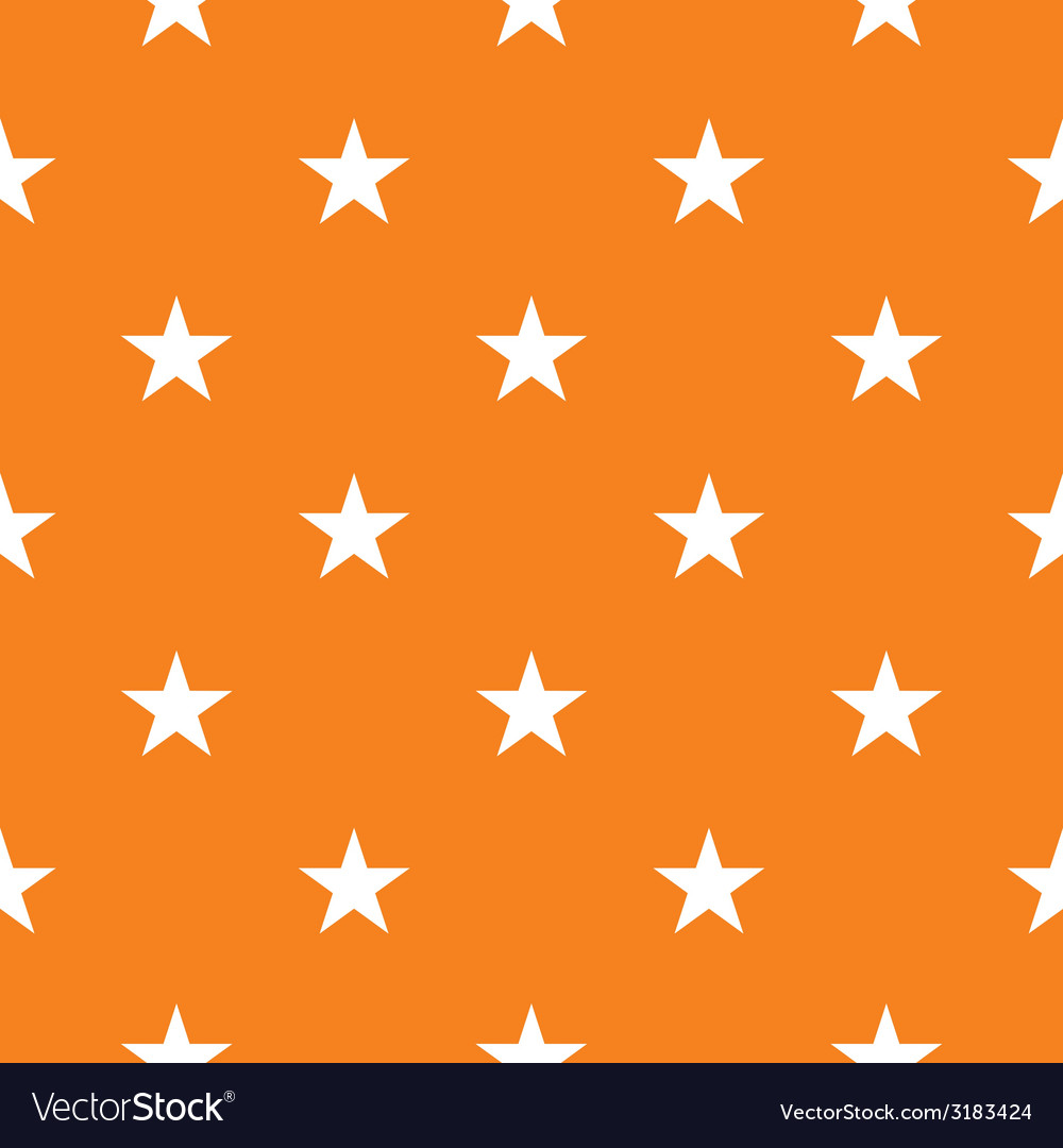 Tile pattern with white stars on orange background vector
