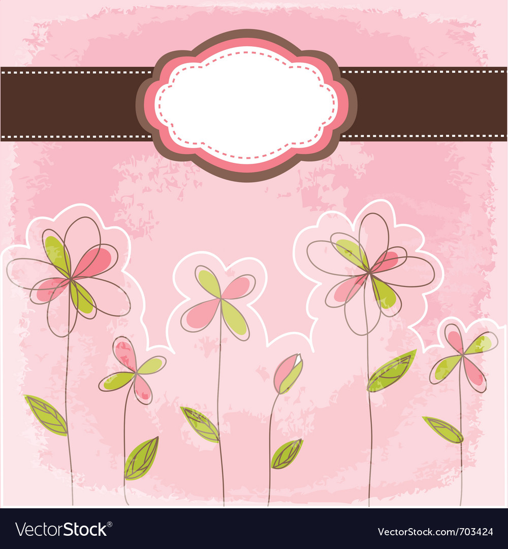 Vintage floral card vector | Price: 1 Credit (USD $1)