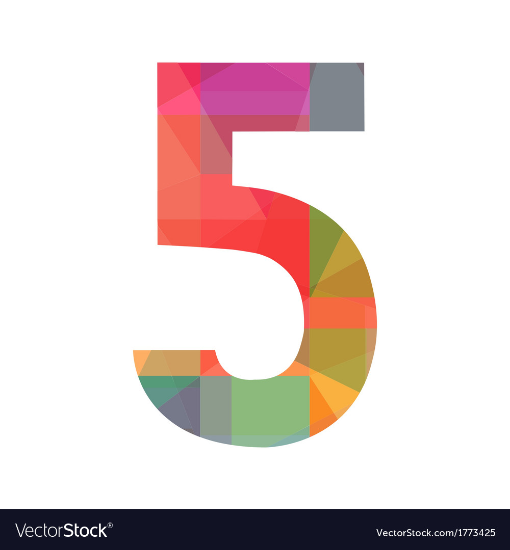A colorful number five vector | Price: 1 Credit (USD $1)