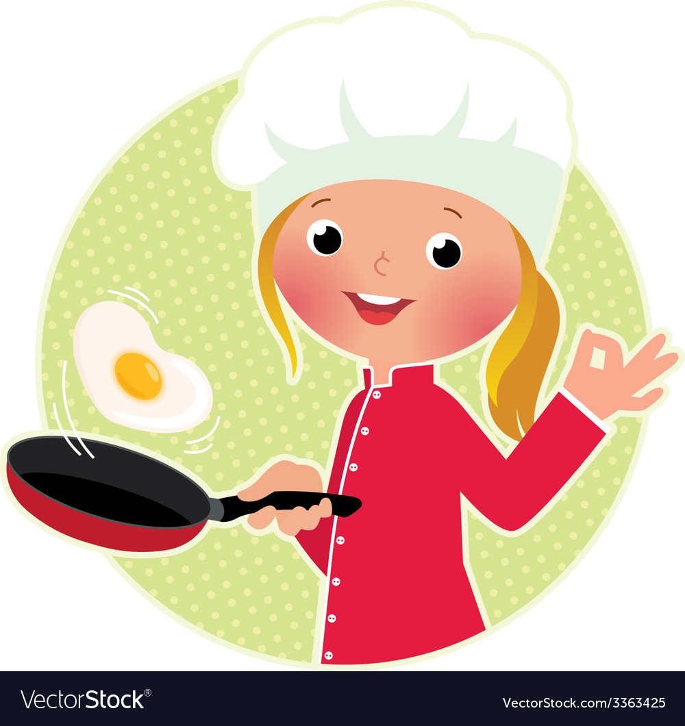 Chef flipping an fried eggs or a omelette vector | Price: 1 Credit (USD $1)