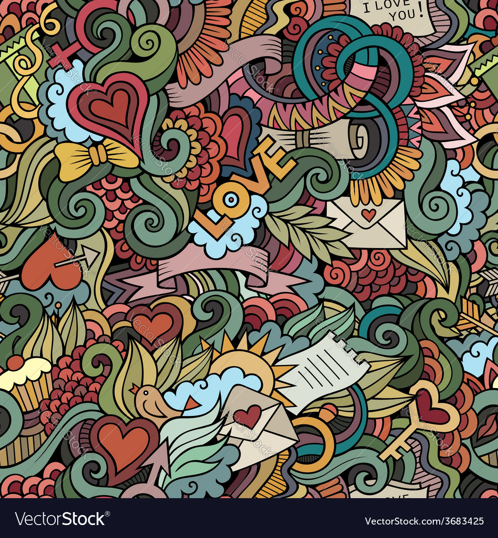 Doodles love seamless pattern vector | Price: 1 Credit (USD $1)