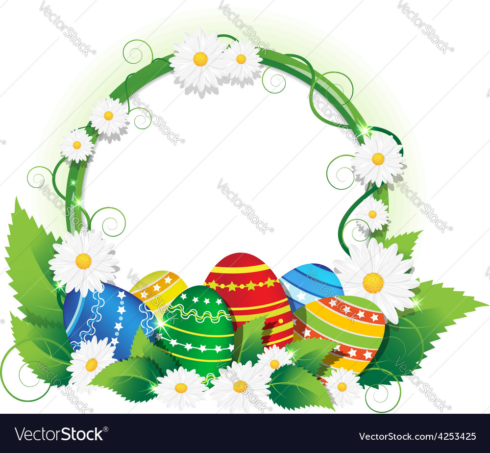Easter eggs with lush foliage and daisies vector | Price: 3 Credit (USD $3)