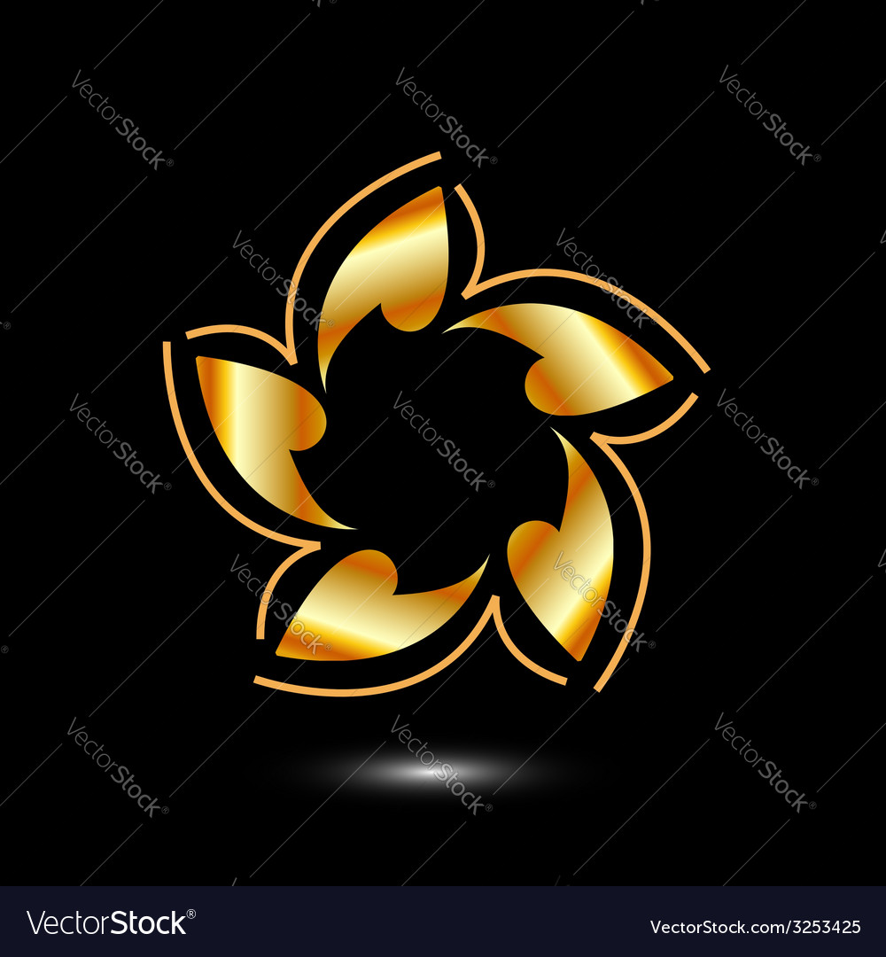 Golden flower logo or design element vector | Price: 1 Credit (USD $1)