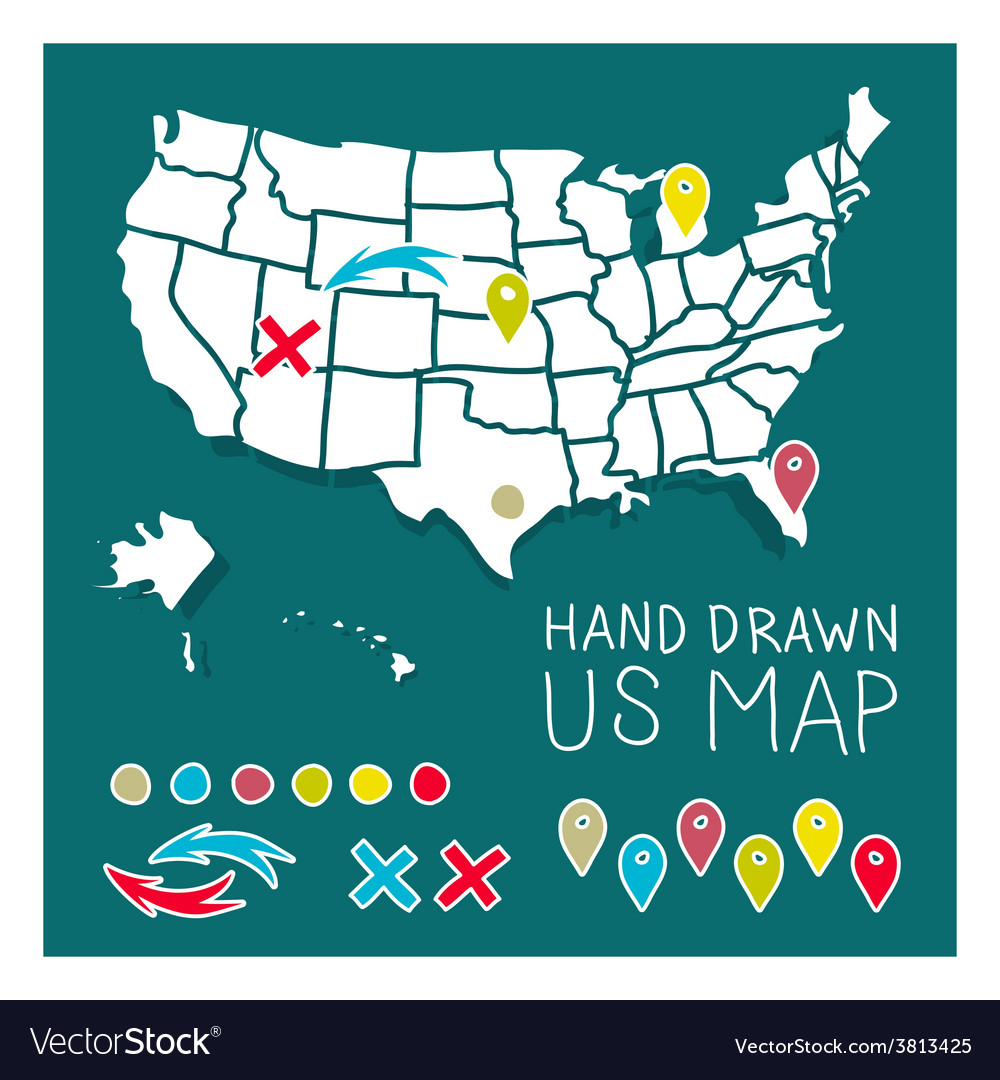 Hand drawn us map travel poster vector | Price: 1 Credit (USD $1)