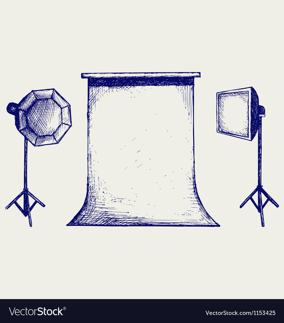 Photo studio with lighting equipment vector | Price: 1 Credit (USD $1)