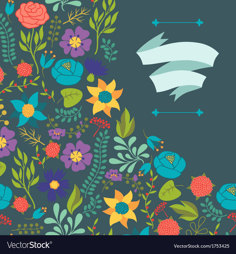 Romantic background of various flowers in retro vector | Price: 1 Credit (USD $1)