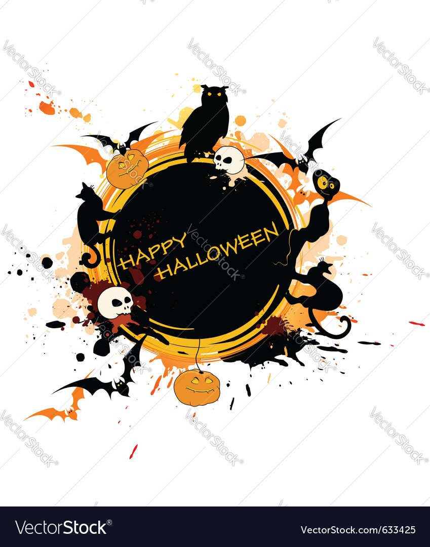 Round halloween banner with animals and pumpkin vector | Price: 1 Credit (USD $1)