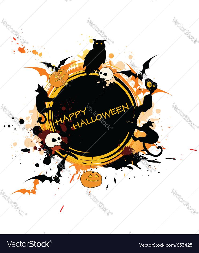 Round halloween banner with animals and pumpkin vector   Price: 1 Credit (USD $1)