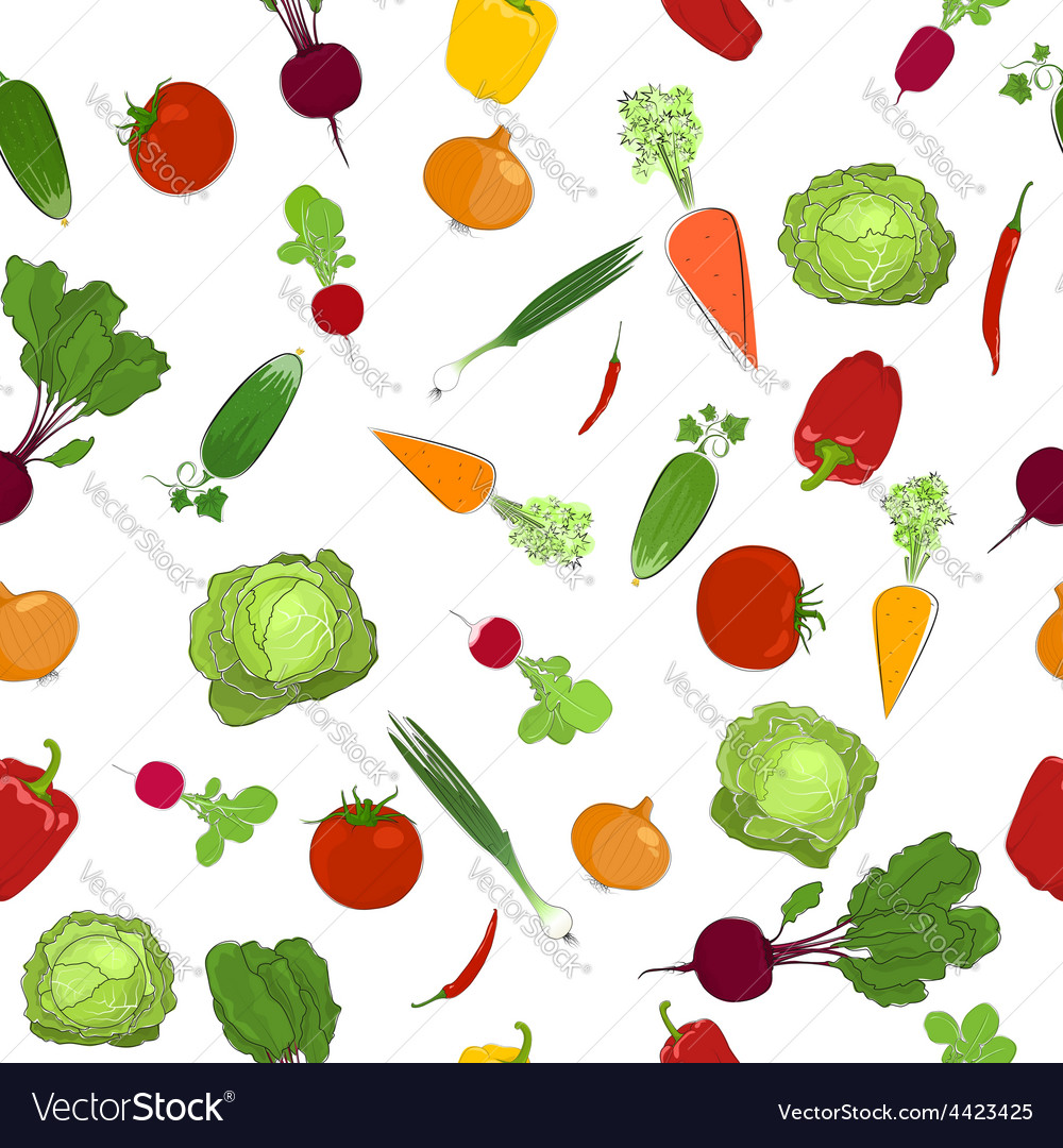 Seamless pattern of fresh raw vegetables vector | Price: 1 Credit (USD $1)