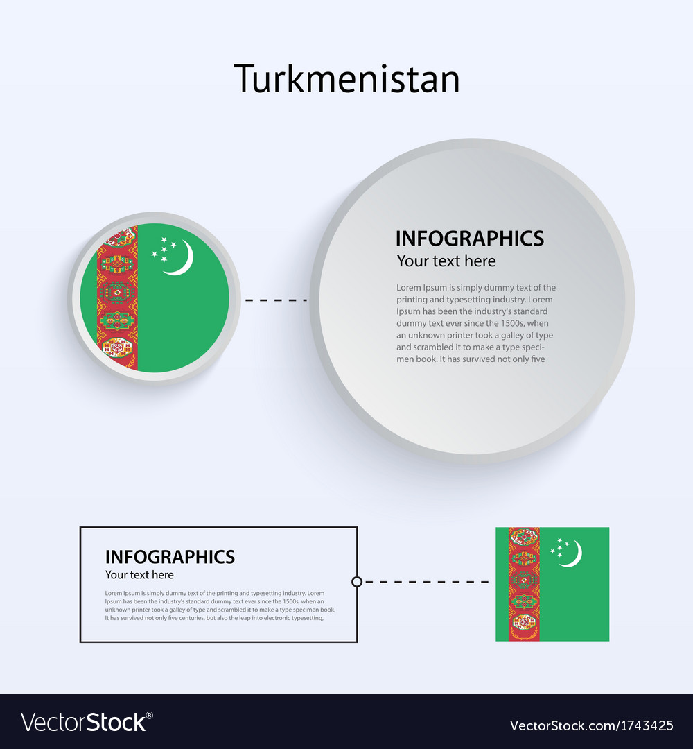 Turkmenistan country set of banners vector | Price: 1 Credit (USD $1)