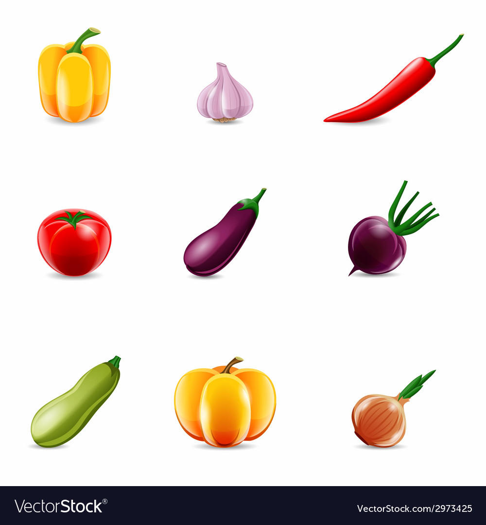 Vegetables realistic icons vector | Price: 1 Credit (USD $1)