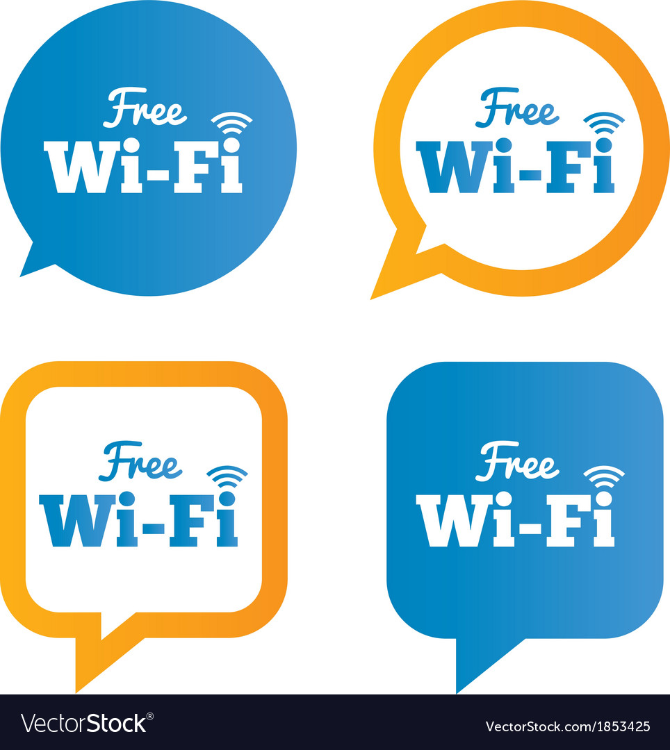 Wifi speech bubbles free wifi symbols wireless vector | Price: 1 Credit (USD $1)