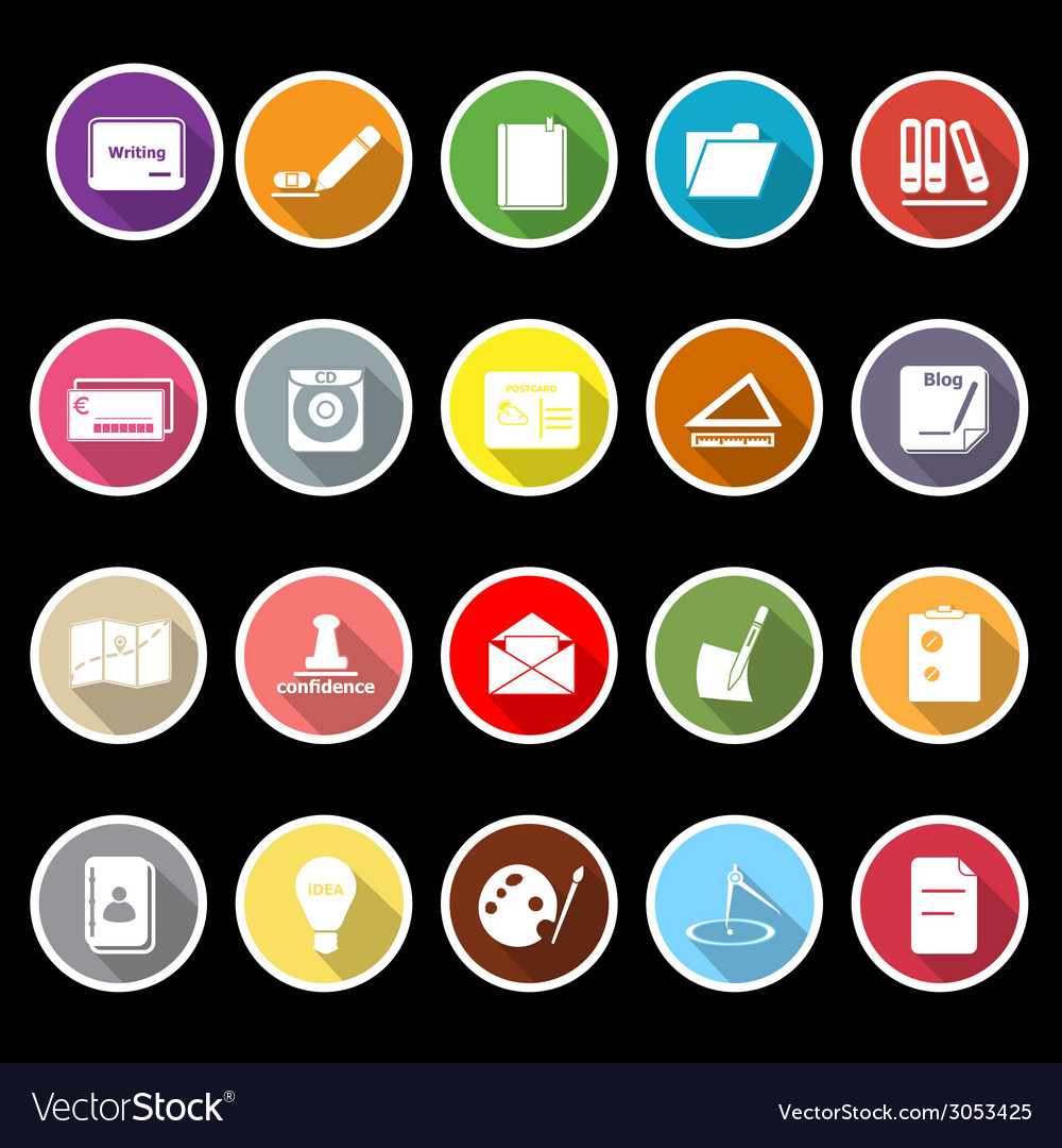 Writing related icons with long shadow vector | Price: 1 Credit (USD $1)