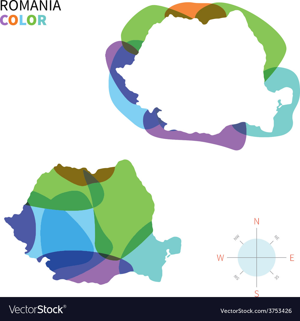 Abstract color map of romania vector | Price: 1 Credit (USD $1)