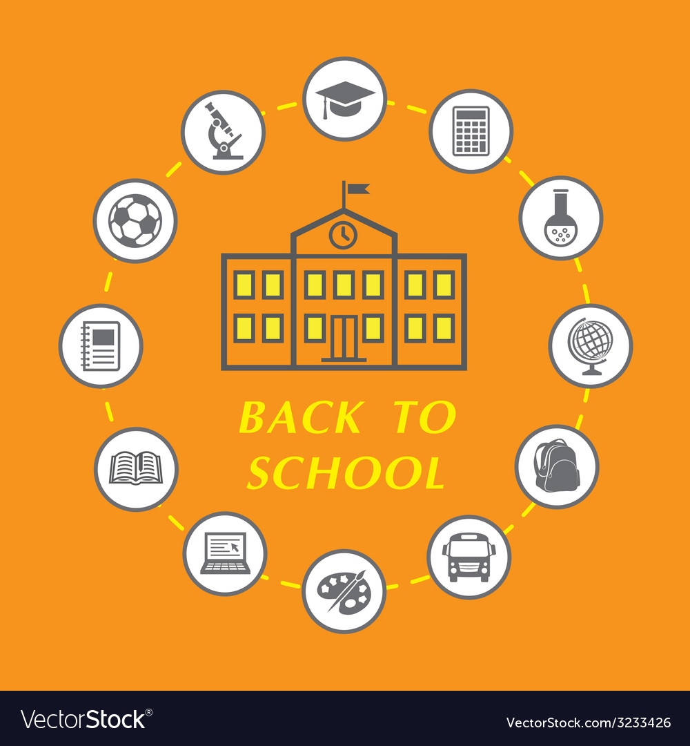 Back to school with education icons vector | Price: 1 Credit (USD $1)