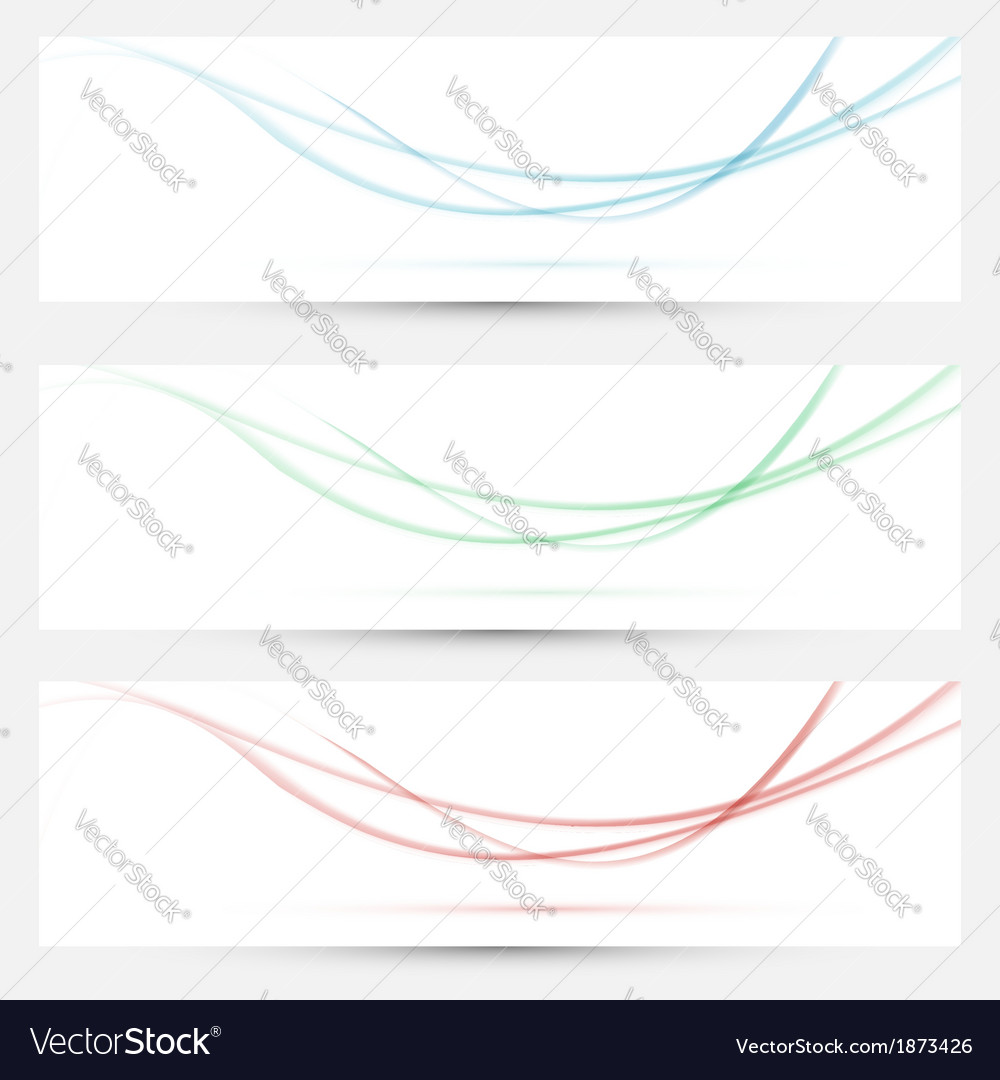 Bright web headers with smoke waves collection vector | Price: 1 Credit (USD $1)