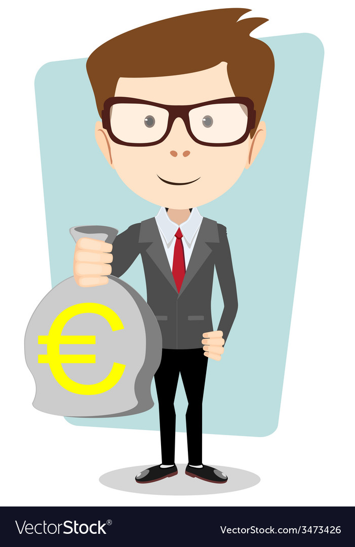 Businessman or banker with a bag of gold cash euro vector | Price: 1 Credit (USD $1)