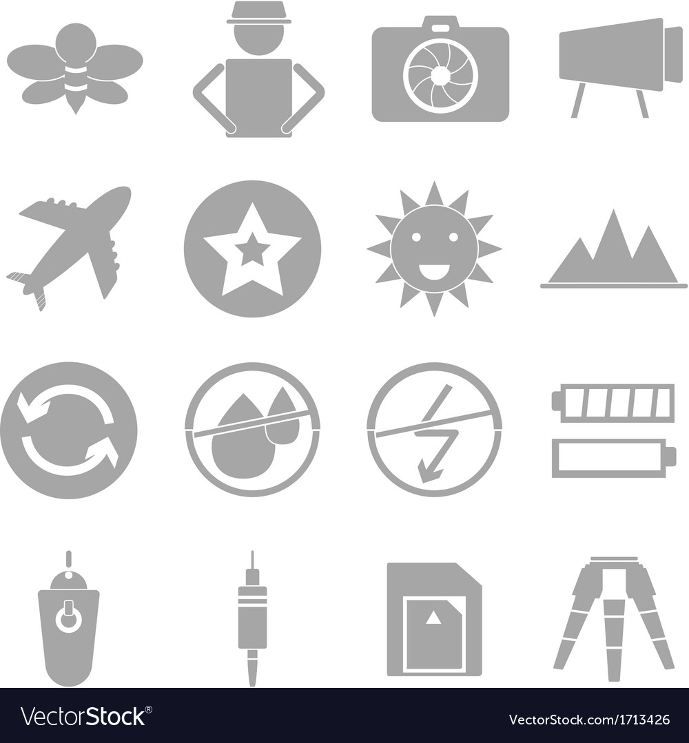 Camera shooting icons on white background vector | Price: 1 Credit (USD $1)