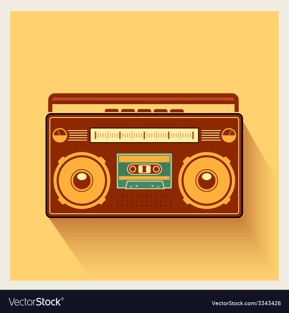 Classic 80s boombox portable cassette tape player vector | Price: 1 Credit (USD $1)