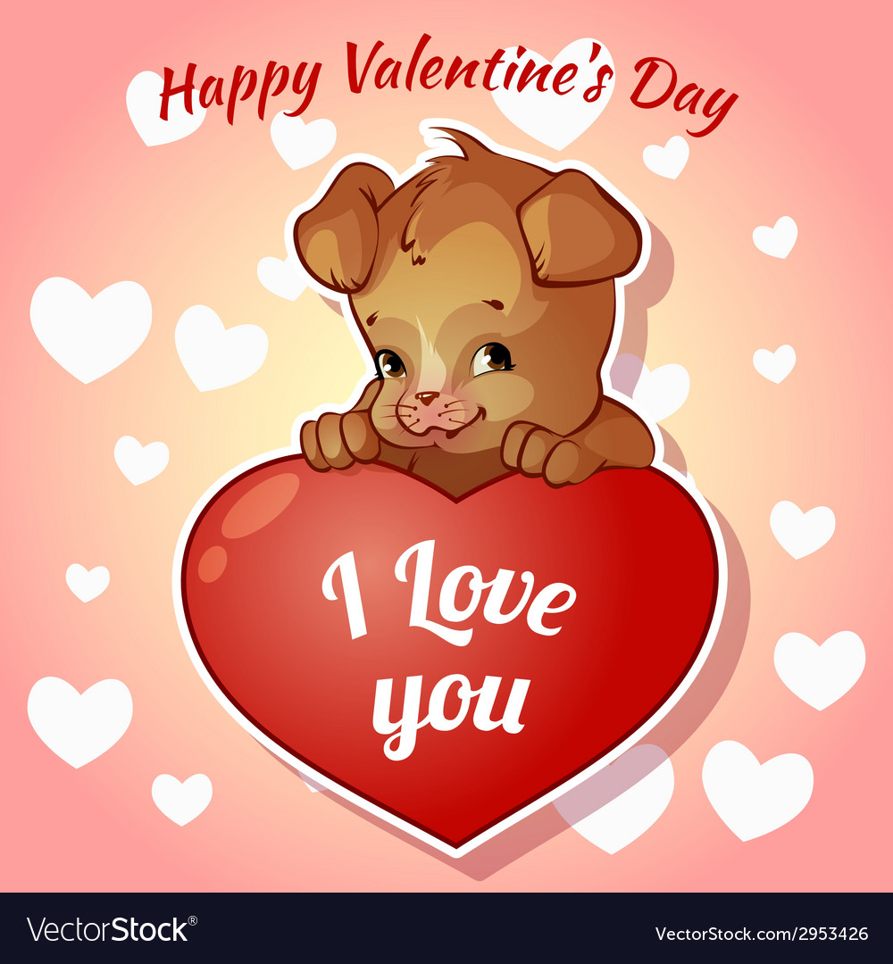Cute puppy with hearts for valentines day vector | Price: 1 Credit (USD $1)
