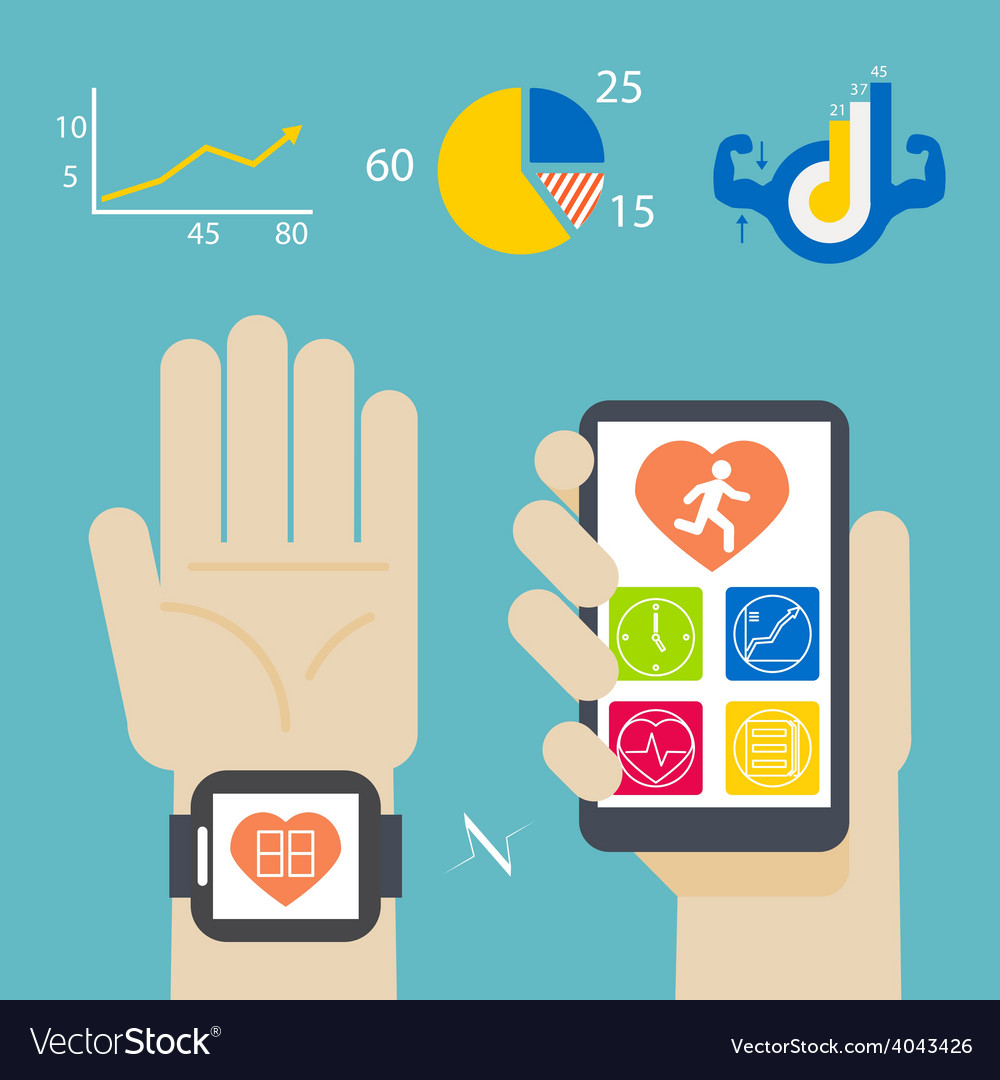 Health book on smartwatch and smartphone vector | Price: 1 Credit (USD $1)