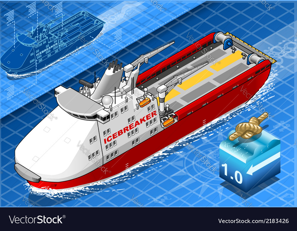 Isometric icebreaker ship isolated in navigation vector | Price: 1 Credit (USD $1)