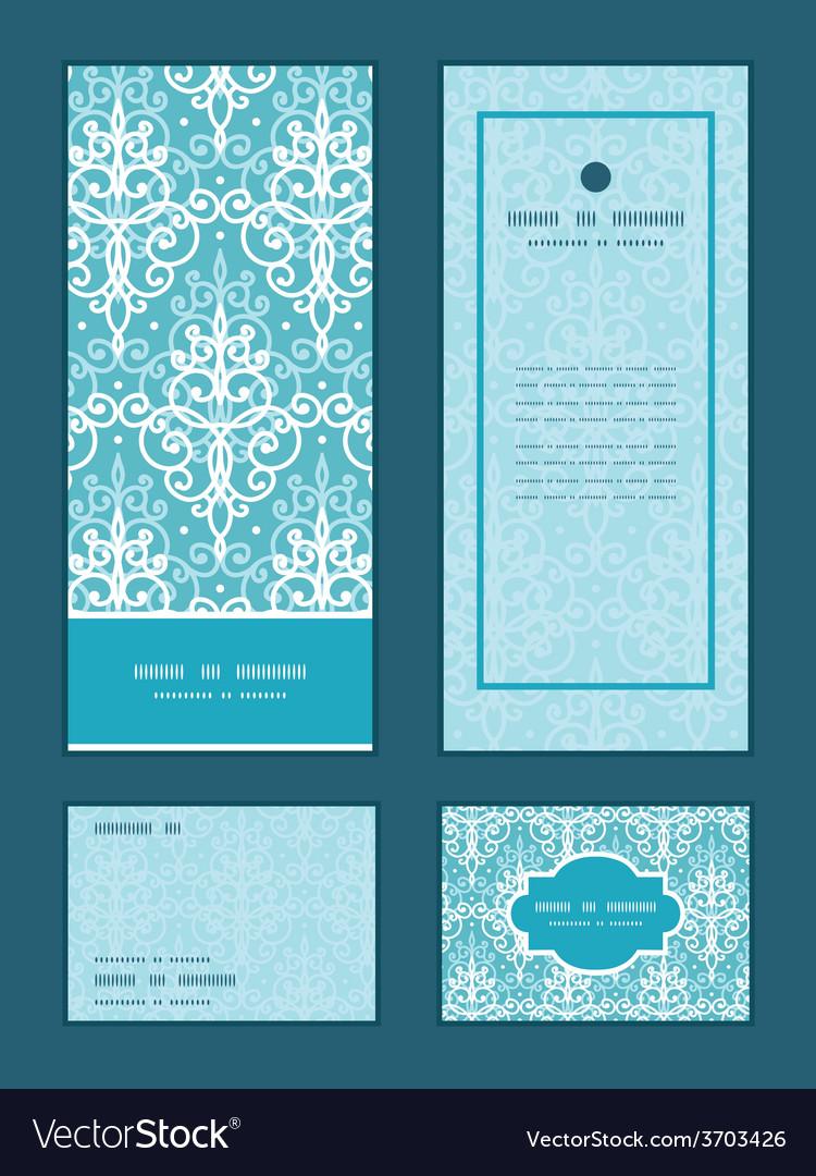 Light blue swirls damask vertical frame vector | Price: 1 Credit (USD $1)