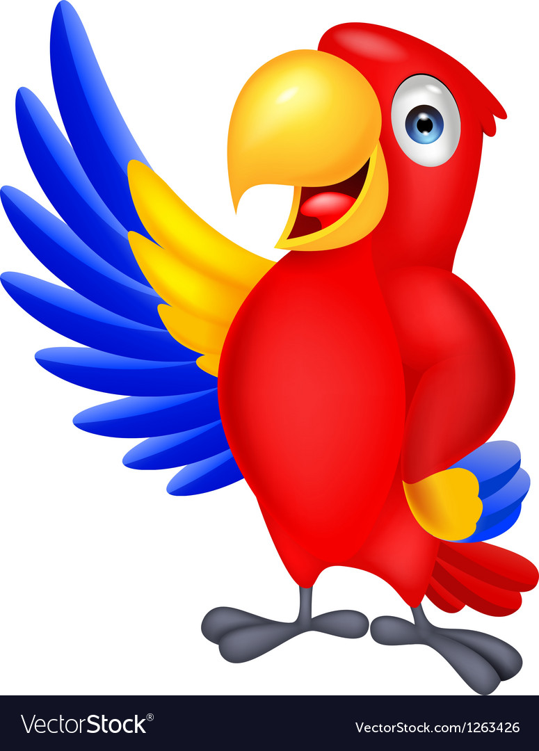 Macaw bird cartoon waving vector | Price: 1 Credit (USD $1)