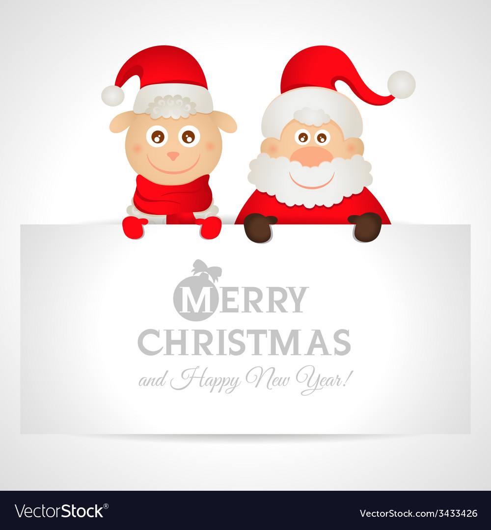 Santa claus and sheep with a place for text vector | Price: 1 Credit (USD $1)