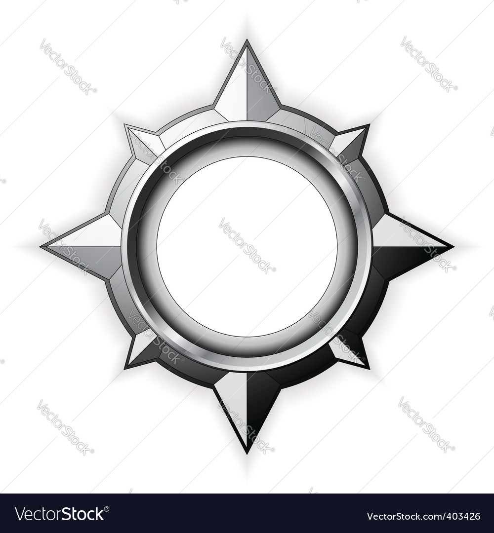 Steel compass rose vector