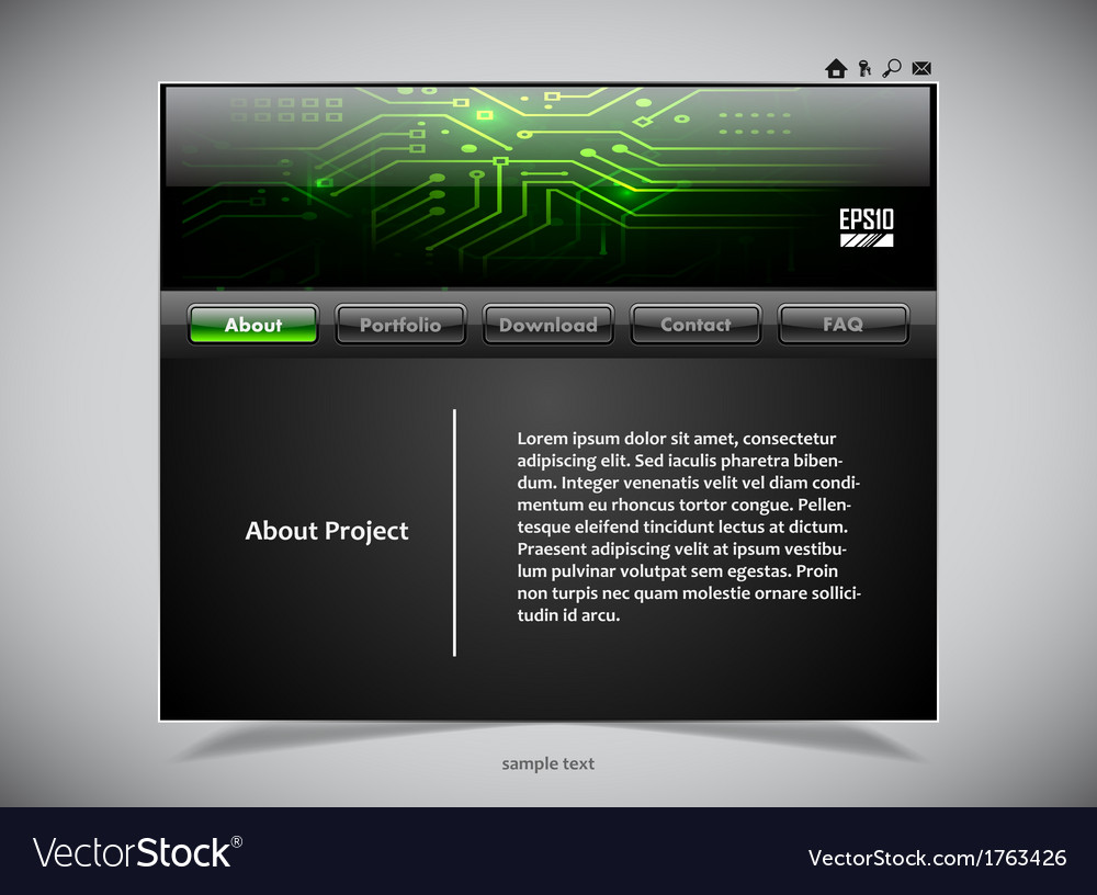 Website template in black and green colors vector | Price: 1 Credit (USD $1)